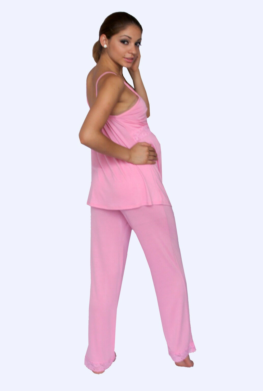 NEW MATERNITY NURSING Bra Pink Pajama Night Gown Breastfeeding Set ...