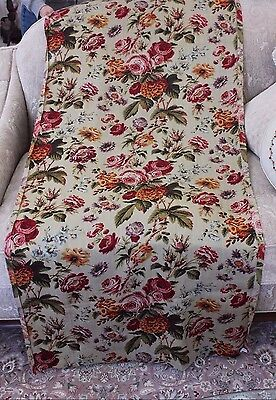 Antique 19thC French Block Printed Big Floral Bouquet Wool Chalis Fabric c1860
