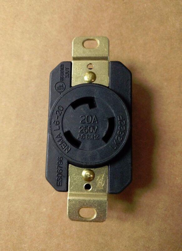 Premium Heavy Duty L6-20R 3-Prong Twist Lock Locking Receptacle Device 20A 250V