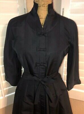 Vintage 1950s Navy Blue Satin Taffeta Cocktail Dress by Andrew Arkin Size Small