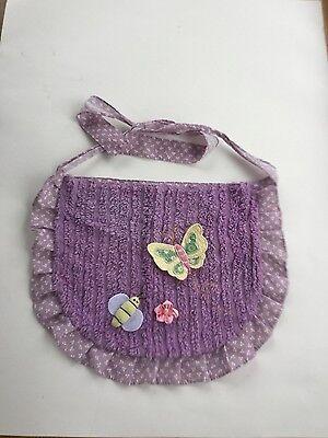 Little Girls Handmade Purple Chenille Cooking Apron Butterfly Pocket Ruffle CUTE
