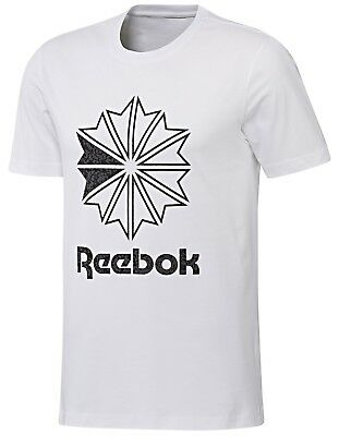 White Training Top T-shirt - Men's New Reebok T-Shirt, Training Top - White - Gym Running Fitness