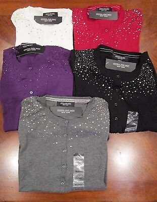 Nwt  Central Park West New York Womens Sequin Beaded Cardigan Sweater