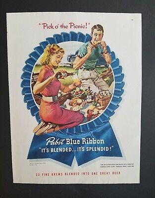 1947 Pabst Blue Ribbon Bier Plektrum O Picknick Vintage Trinken Anzeige gebraucht kaufen  Versand nach Germany