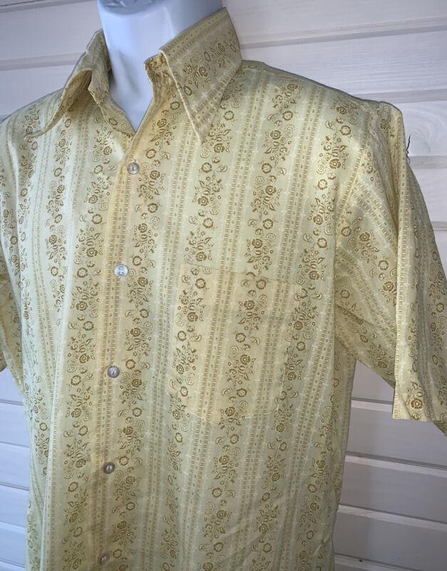 Vtg 60s 70s Towncraft Penn-Prest Shirt Sz MEDIUM Button Yellow Floral Stripe EUC