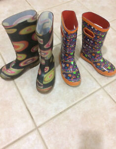 2 pairs of girls rains boots size 13