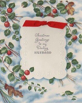 VTG 1940'S RED RIBBON APPLE BRANCHES LEAVES WINTER SCENE CHRISTMAS GREETING CARD