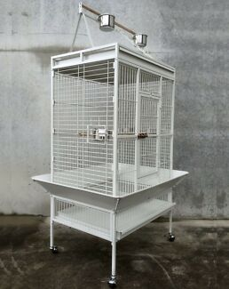White Play Top Roof Parrot Aviary Bird Cage Perch Ladder On Wheels