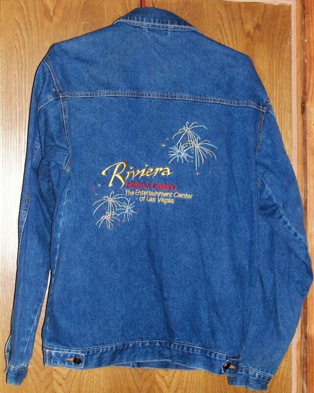 Size Small Riviera Hotel & Casino Las Vegas Blue Denim Men's Jacket Coat S Jean