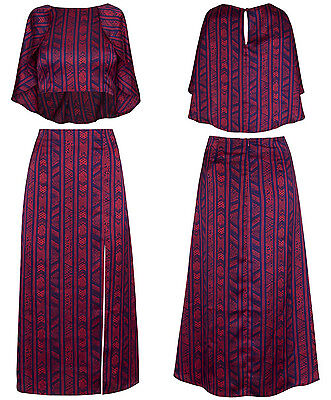 New Women Aztec Print Asymetric Crop Top High Waist Split Midi Skirt Co Ord Set
