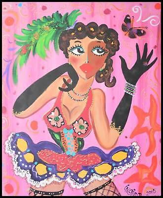 Ingrid B. Miss pink butterfly Poster Kunstdruck im Alu Rahmen schwarz 50x40cm