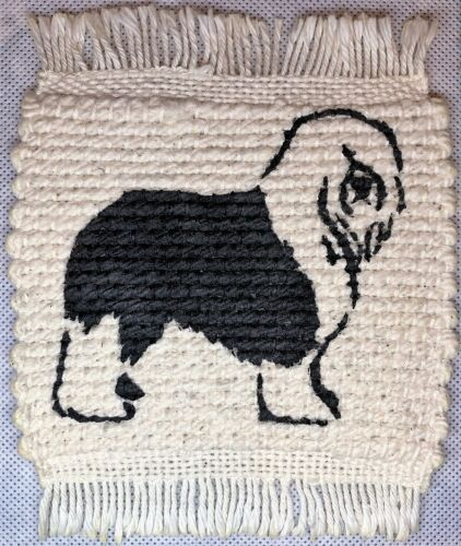 Set of Two Woven Coasters with Old English Sheepdog Print