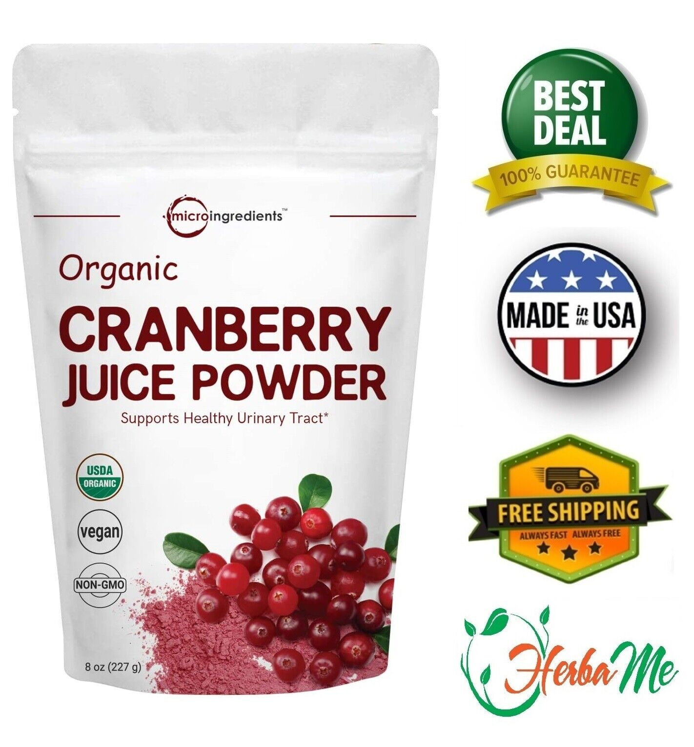 ORGANIC CRANBERRY JUICE POWDER 8Oz Urinary Tract Cleanse Support Prostate Health