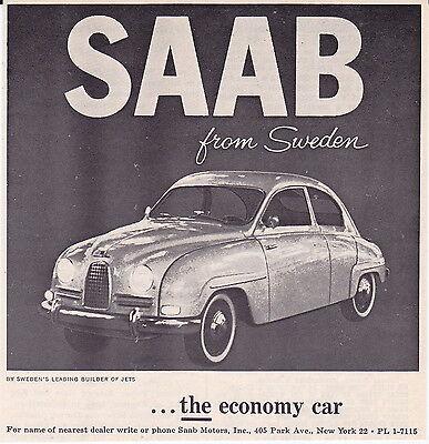 1959 SAAB ~ ORIGINAL SMALLER PRINT AD