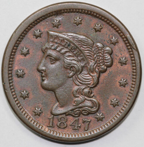 1847 1c Braided Hair N-12 Large Cent UNSLABBED