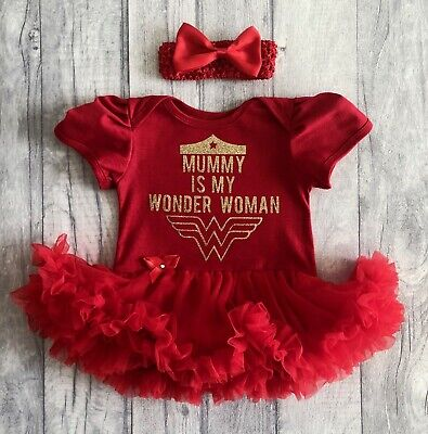 WONDER WOMAN TUTU ROMPER, Gold Glitter Mummy is my Wonder Woman, Newborn Gift