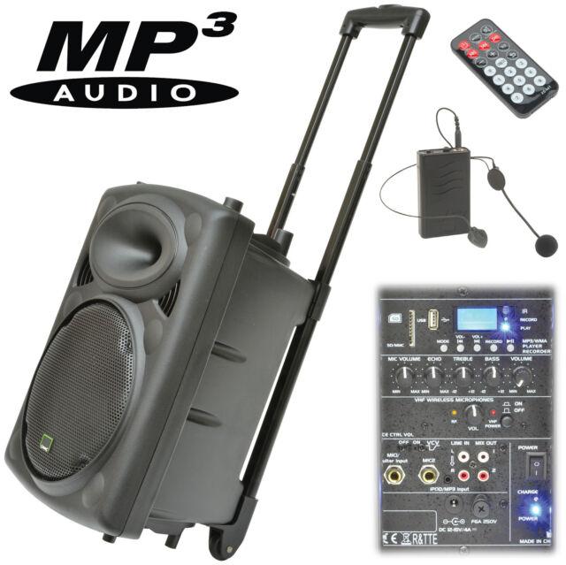 QTX QR10PA PORTABLE BATTERY PA SOUND SYSTEM USB MP3 INC WIRELESS MICROPHONE