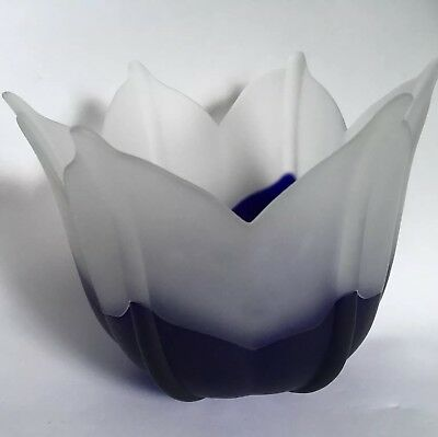 Contemporary Art Glass Vase Bowl Navy Blue & Frosted Six Petal Flower Blossom