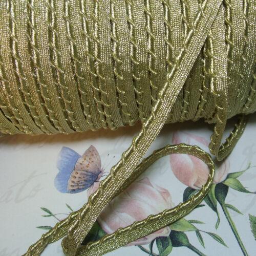 "Antique vtg Gold Metal lip cord piping edging trim gimp braid ribbon pillow 1/2"""