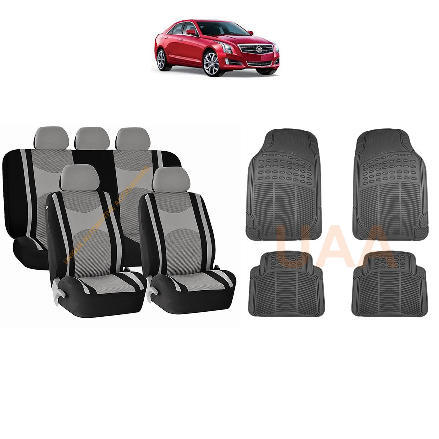 12PC GRAY MESH SEAT COVERS SPLIT BENCH /& BLACK RUBBER MATS FOR CARS 3045