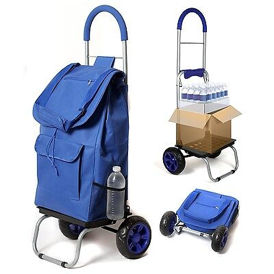 Dbest Trolley Dolly, Blue Shopping Grocery Foldable Cart, Carrying up to 110 lbs