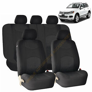 BLACK AIRBAG SPLIT Bench SEAT COVERS 9pc SET For VW JETTA PASSAT