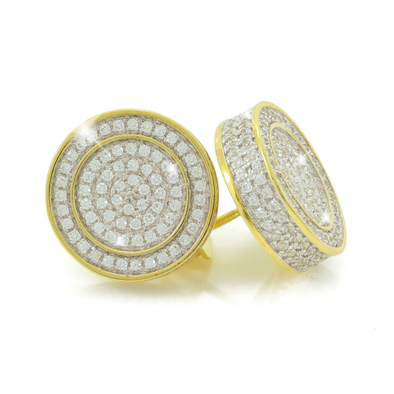 Details About Mens 14k Gold Plated Sterling Silver 1 2 Large Micropave Lab Diamonds Earrings