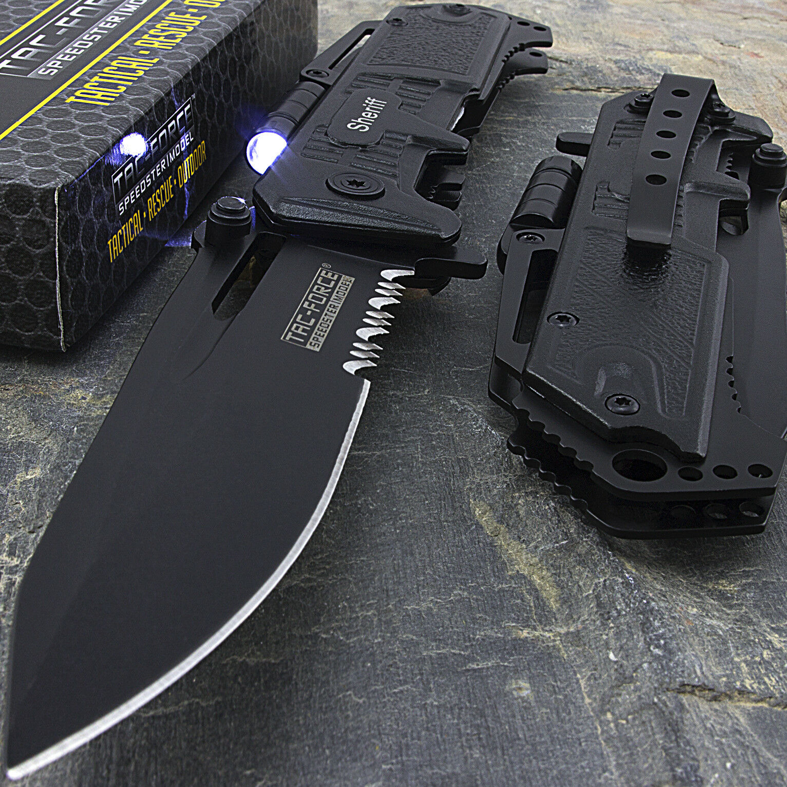 "Knife - 8.5"" SHERIFF TAC FORCE SPRING ASSISTED FOLDING POCKET KNIFE w/ LED FLASHLIGHT"