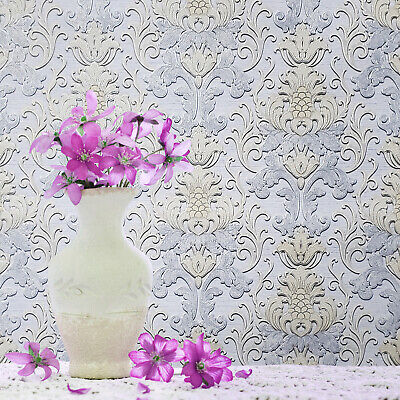 Paper Wallpaper Pastel violet blue beige Victorian vintage damask textured rolls