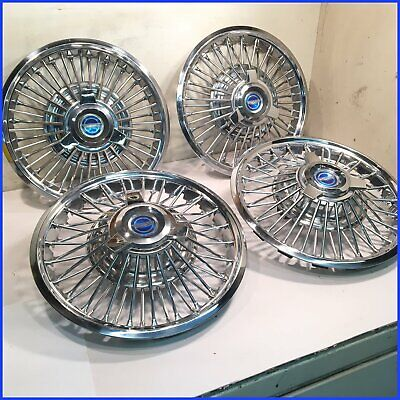 "1965 1966 MUSTANG USED/OEM 48 SPOKE 14"" WIRE HUBCAPS w/NEW BLUE SPINNERS (4 pcs)"