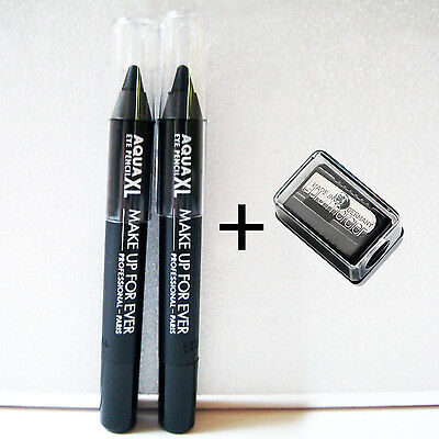 2X MAKE UP FOR EVER Aqua XL Eye Pencil in M-10 + Laura Mercier Pencil Sharpener