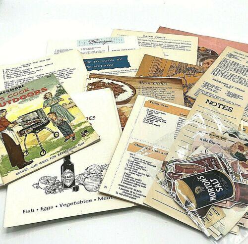 Junk Journal Ephemera Vintage Old Cookbook Recipes 50+pc Lot Paper Pack Collage
