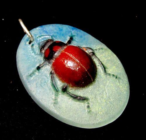 Art Nouveau French Almeric Walter Beetle Scarab Pate de Verre Antique Pendant
