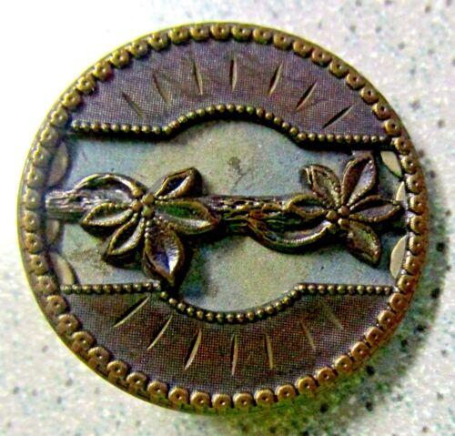 """Antique CUT STEEL METAL BUTTON Flower vintage art nouveau design pin 1.25"""" diam"""