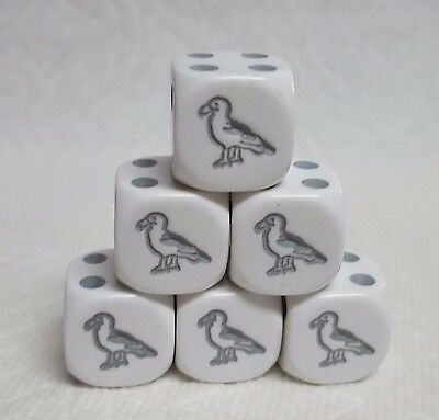 DICE - KOPLOW'S SEAGULLS! 16mm WHITE w/GREY GULLS AS #1 & GREY PIPS - SET OF SIX