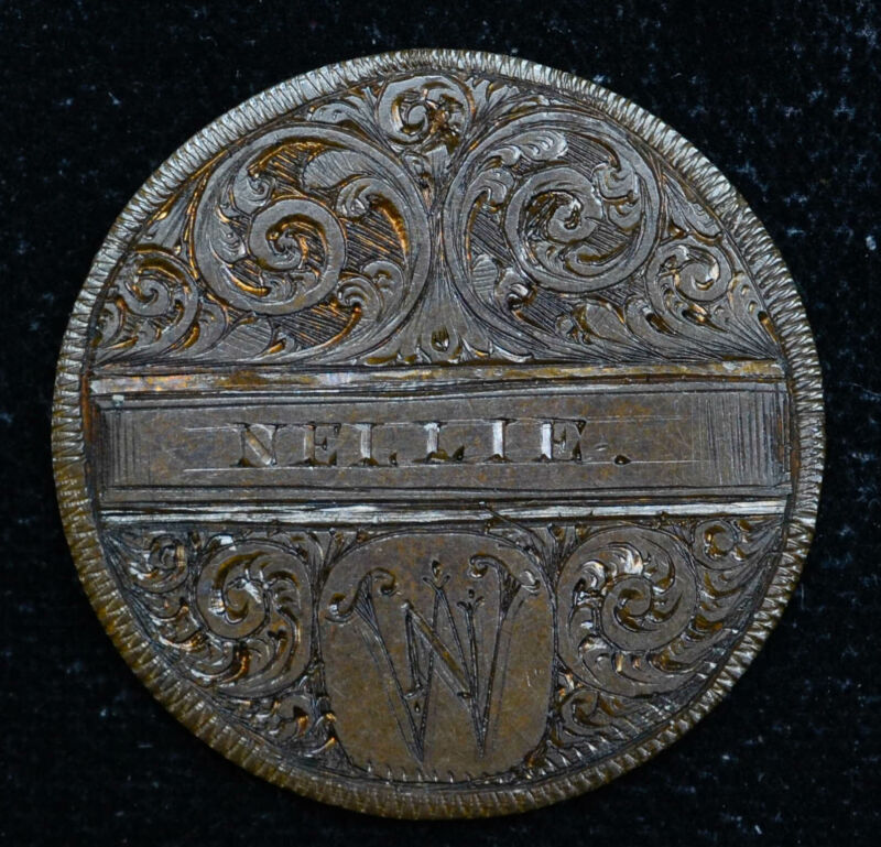 Love Token Engraved NELLIE W On Great Britain 1/2 Penny 25mm Copper Victoria