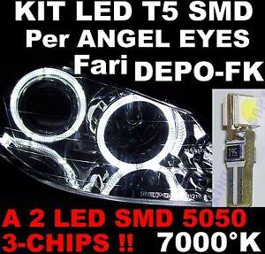 n-20-LED-T5-WHITE-BIANCO-GHIACCIO-7000K-ricambi-fari-ANGEL-EYES-DEPO-PEUGEOT-206
