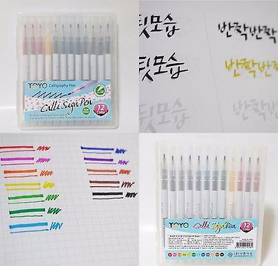 Calligraphy Calli Sign Pen 12 Colors 2 mm NIB Chisel-type pen. Non Toxic.