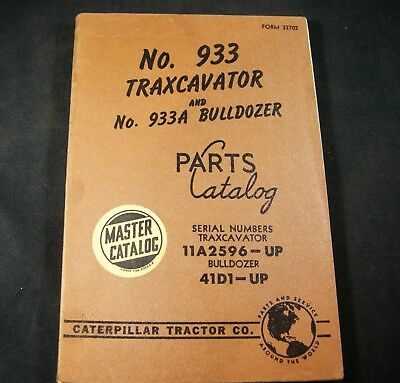 Cat Caterpillar 933 Traxcavator 933a Bulldozer Parts Manual Book Catalog 11a 41d
