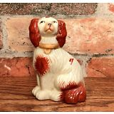 Staffordshire Red & White Spaniel Dog Miniature Porcelain Figurine