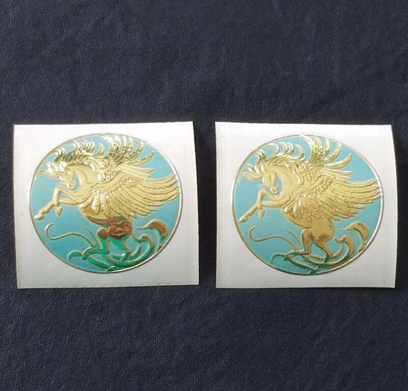 Vintage Pegasus Embossed Gold Foil Sticker Round Blue 1981 Illuminations