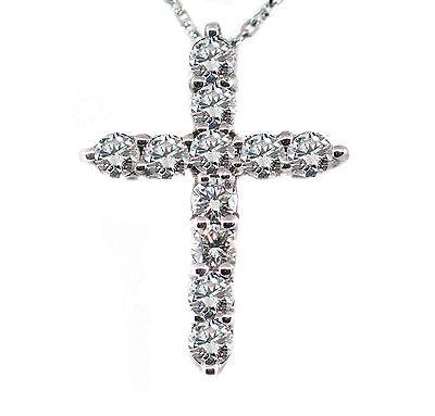 2.21 CT Natural Round Brilliant Cut Diamond Cross Pendant VS2/F 14K White Gold