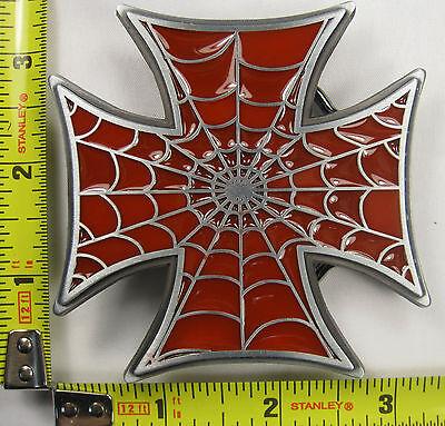 IRON CROSS SPIDER WEB METAL BELT BUCKLE MALTESE RED GERMAN NEW B390 ()