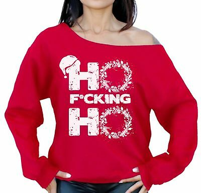 Off Shoulder Ho F*cking Ho Bad Santa Sweatshirt Women's Ugly Christmas Sweaters