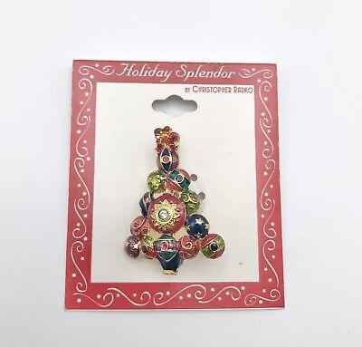 Signed Christopher Radko Christmas Tree Pin