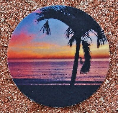 Sunrise with Palm Tree Absorbent Rose West Photo Car Coaster - Photo Coaster