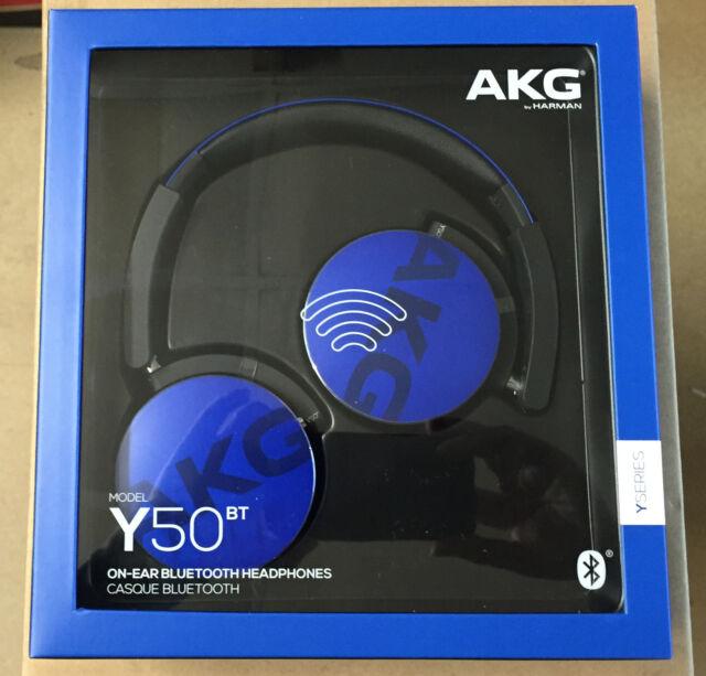 AKG Y50BT BLUE FOLDABLE HEADPHONES, Wireless Bluetooth ON EAR Blue UK Stock