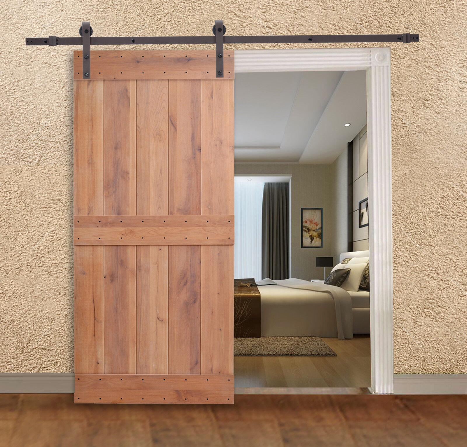 Knotty Alder Natural Primed Interior Barn Door with Sliding Hardware Track Set  eBay