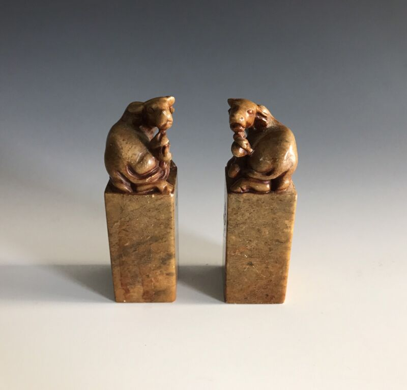 A Pair Of Vintage Chinese Soapstone Oxen Uncarved Seals