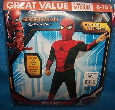 Spiderman Costume Children ( Size M 8/10 Marvel Spider-Man Far From Home  Child Costume Muscle Chest)